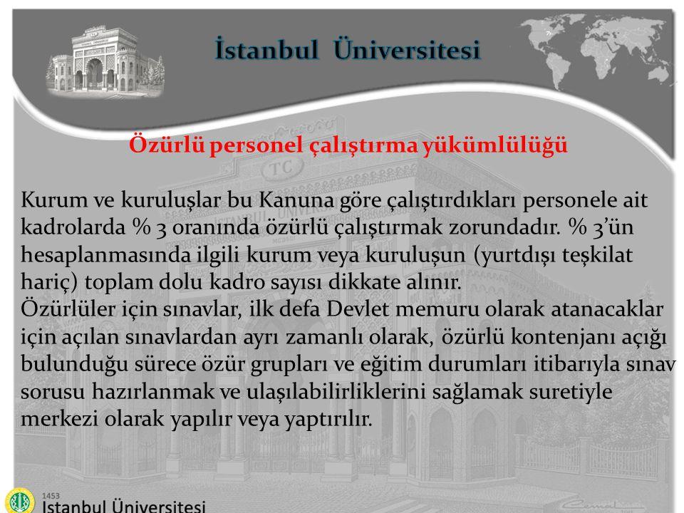 İstanbul Üniversitesi Özürlü personel çalıştırma yükümlülüğü Özürlü personel çalıştırma yükümlüğünün yerine getirilmesinin takip ve denetimi ile özürlülerin Devlet memurluğuna yerleştirilmesinden Devlet Personel Başkanlığı sorumludur.