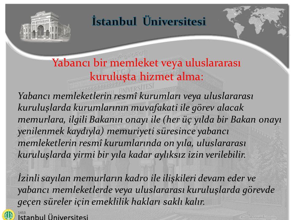 İstanbul Üniversitesi Yabancı bir memleket veya uluslararası kuruluşta hizmet alma: Yabancı memleketlerin resmî kurumları veya uluslararası kuruluşlar