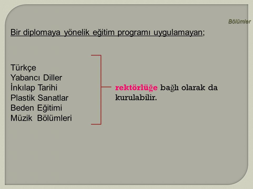 Bölümler Bir diplomaya yönelik eğitim programı uygulamayan; Türkçe Yabancı Diller İnkılap Tarihi Plastik Sanatlar Beden Eğitimi Müzik Bölümleri rektör