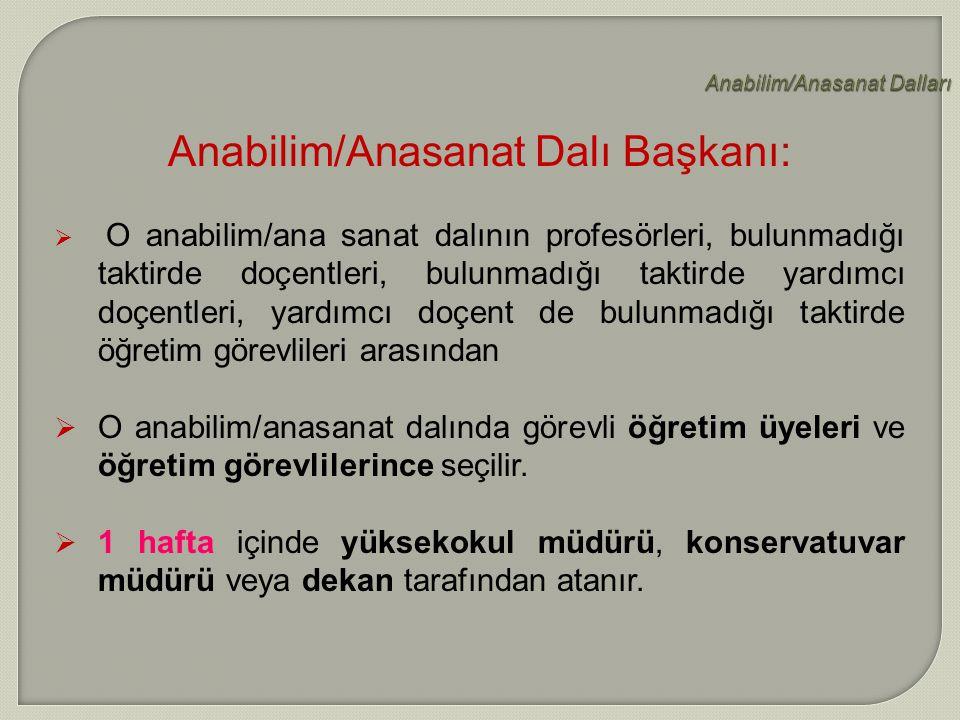 Anabilim/Anasanat Dalları Anabilim/Anasanat Dalı Başkanı:  O O anabilim/ana sanat dalının profesörleri, bulunmadığı taktirde doçentleri, bulunmadığı