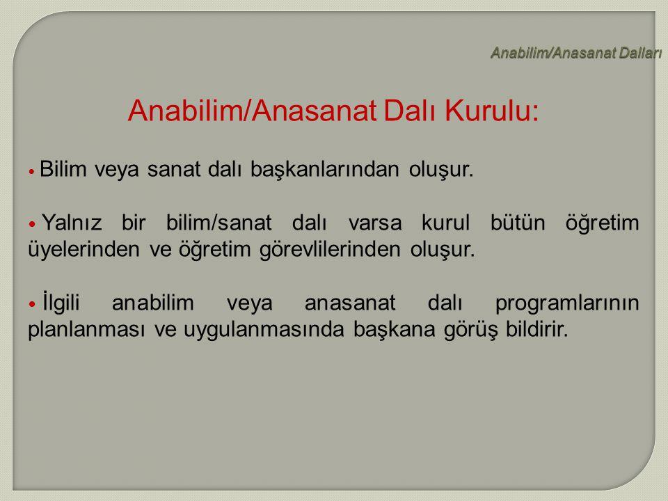 Anabilim/Anasanat Dalları Anabilim/Anasanat Dalı Kurulu: Bilim veya sanat dalı başkanlarından oluşur. Yalnız bir bilim/sanat dalı varsa kurul bütün öğ