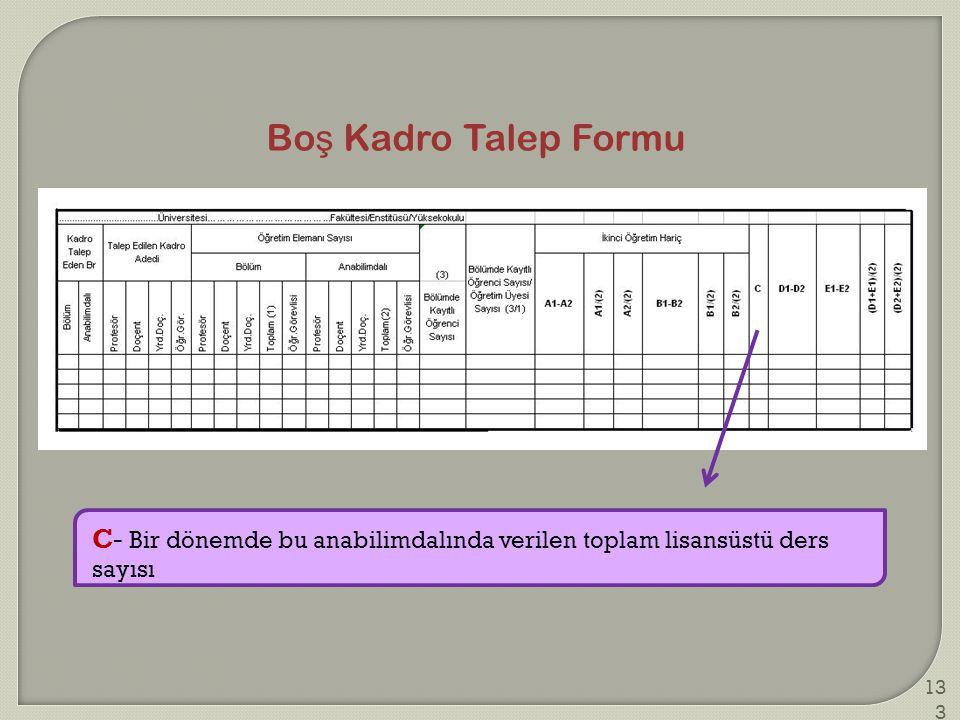 Bo ş Kadro Talep Formu C- Bir dönemde bu anabilimdalında verilen toplam lisansüstü ders sayısı 133