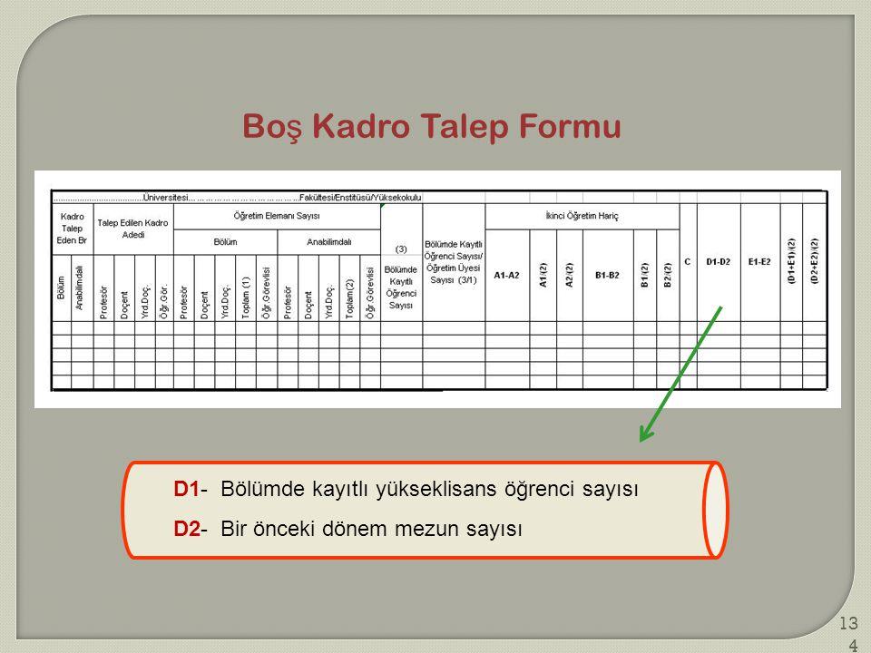 Bo ş Kadro Talep Formu D1- Bölümde kayıtlı yükseklisans öğrenci sayısı D2- Bir önceki dönem mezun sayısı 134