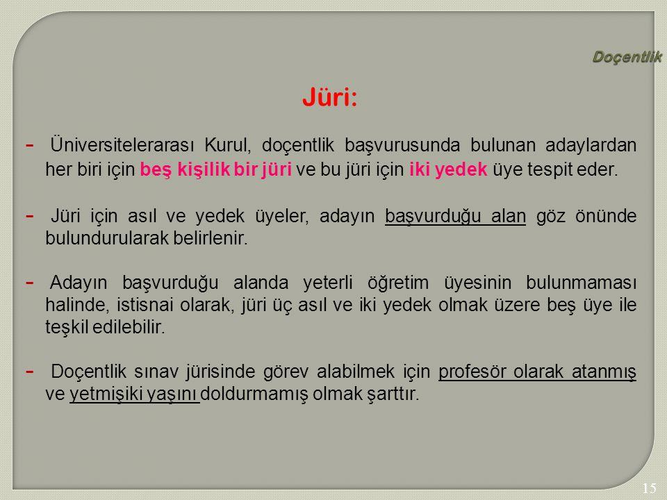 159 Doçentlik Jüri:  Üniversitelerarası Kurul, doçentlik başvurusunda bulunan adaylardan her biri için beş kişilik bir jüri ve bu jüri için iki yedek
