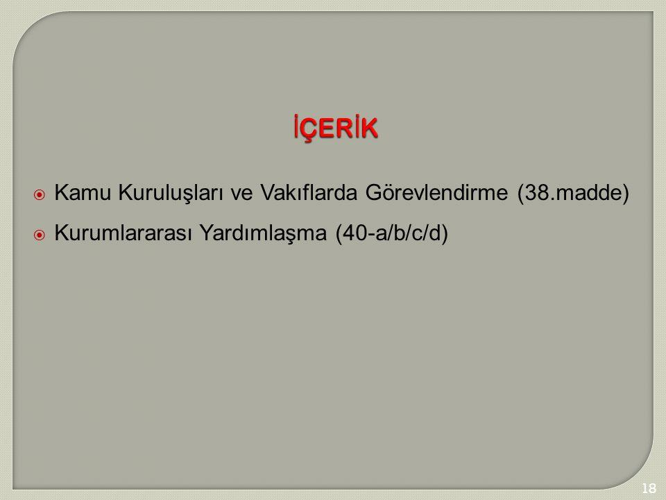 181 İÇERİK  Kamu Kuruluşları ve Vakıflarda Görevlendirme (38.madde)  Kurumlararası Yardımlaşma (40-a/b/c/d)