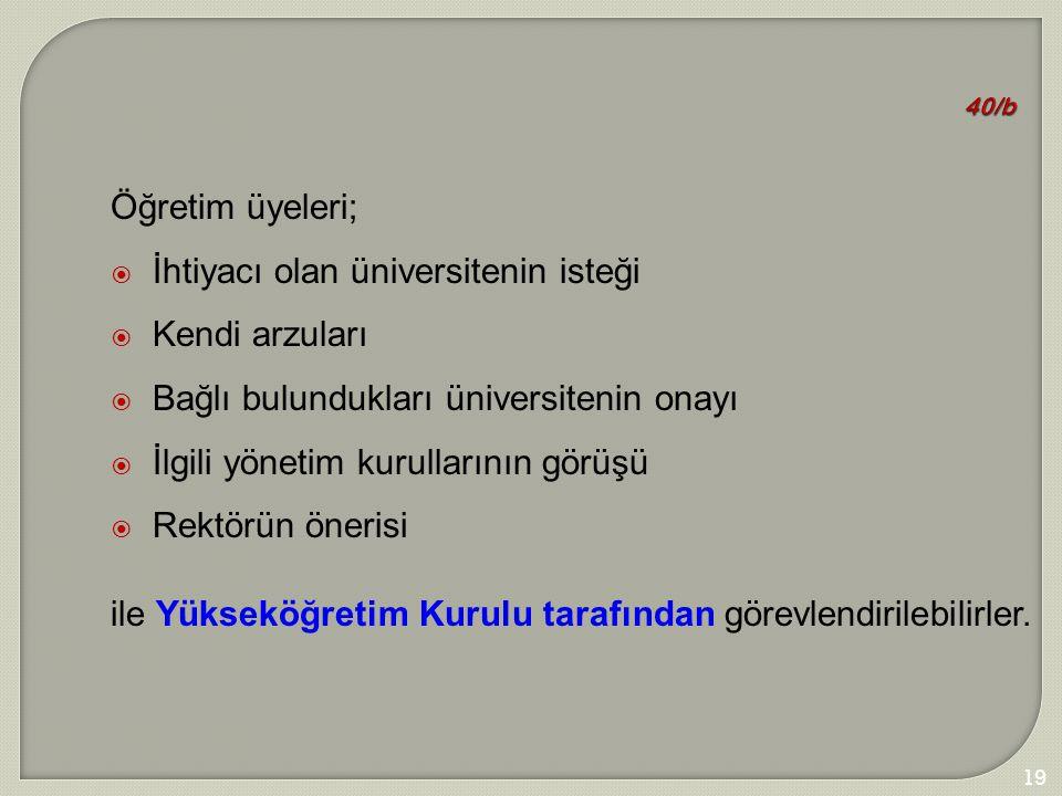 198 40/b Öğretim üyeleri;  İhtiyacı olan üniversitenin isteği  Kendi arzuları  Bağlı bulundukları üniversitenin onayı  İlgili yönetim kurullarının
