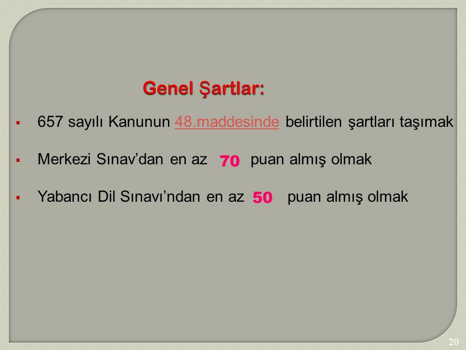 207 Genel Ş artlar:  657 sayılı Kanunun 48.maddesinde belirtilen şartları taşımak48.maddesinde  Merkezi Sınav'dan en az puan almış olmak  Yabancı D