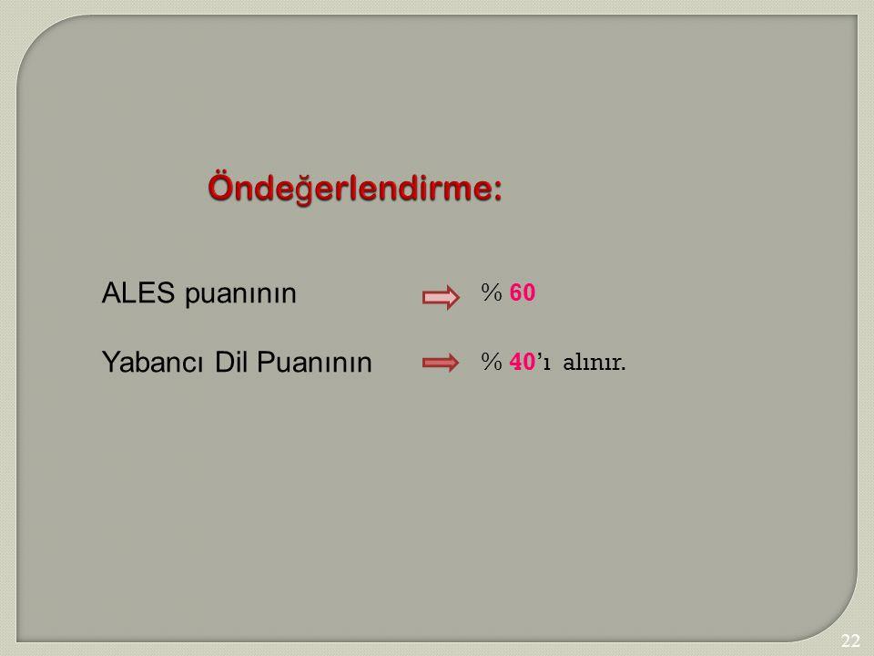 225 Önde ğ erlendirme: ALES puanının Yabancı Dil Puanının % 60 % 40'ıalınır.