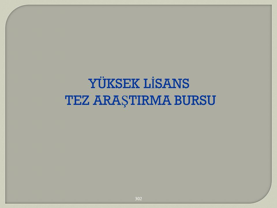 YÜKSEK L İ SANS TEZ ARA Ş TIRMA BURSU 302