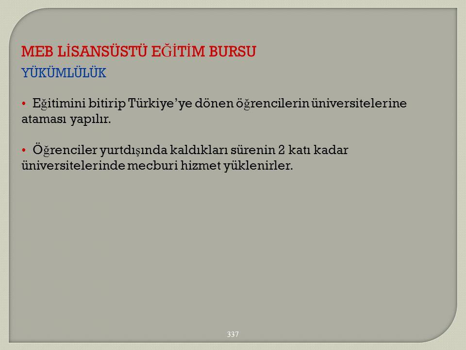 YÜKÜMLÜLÜK MEB L İ SANSÜSTÜ E Ğİ T İ M BURSU 337 E ğ itimini bitirip Türkiye'ye dönen ö ğ rencilerin üniversitelerine ataması yapılır. Ö ğ renciler yu