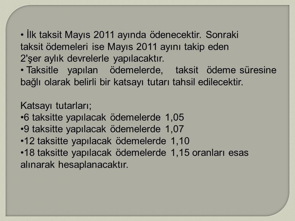 İlk taksit Mayıs 2011 ayında ödenecektir. Sonraki taksit ödemeleri ise Mayıs 2011 ayını takip eden 2'şer aylık devrelerle yapılacaktır. Taksitle yapıl