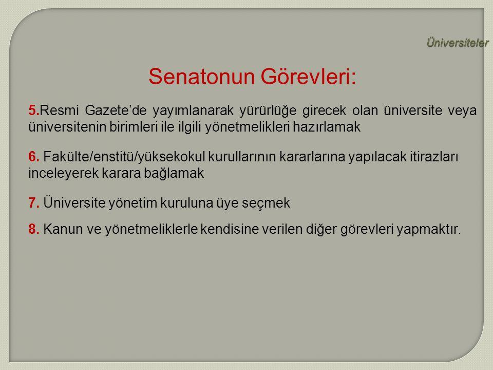 Üniversiteler Senatonun Görevleri: 5.Resmi Gazete'de yayımlanarak yürürlüğe girecek olan üniversite veya üniversitenin birimleri ile ilgili yönetmelik