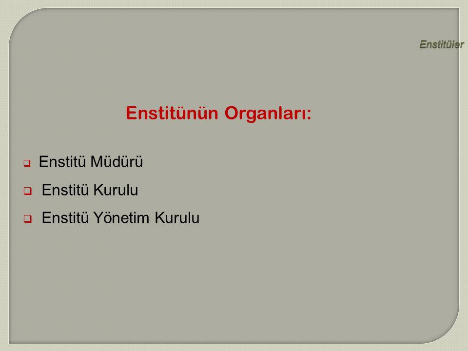 Enstitüler  Enstitü Müdürü  Enstitü Kurulu  Enstitü Yönetim Kurulu Enstitünün Organları: