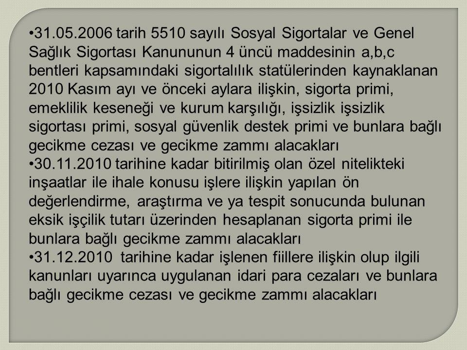 31.05.2006 tarih 5510 sayılı Sosyal Sigortalar ve Genel Sağlık Sigortası Kanununun 4 üncü maddesinin a,b,c bentleri kapsamındaki sigortalılık statüler