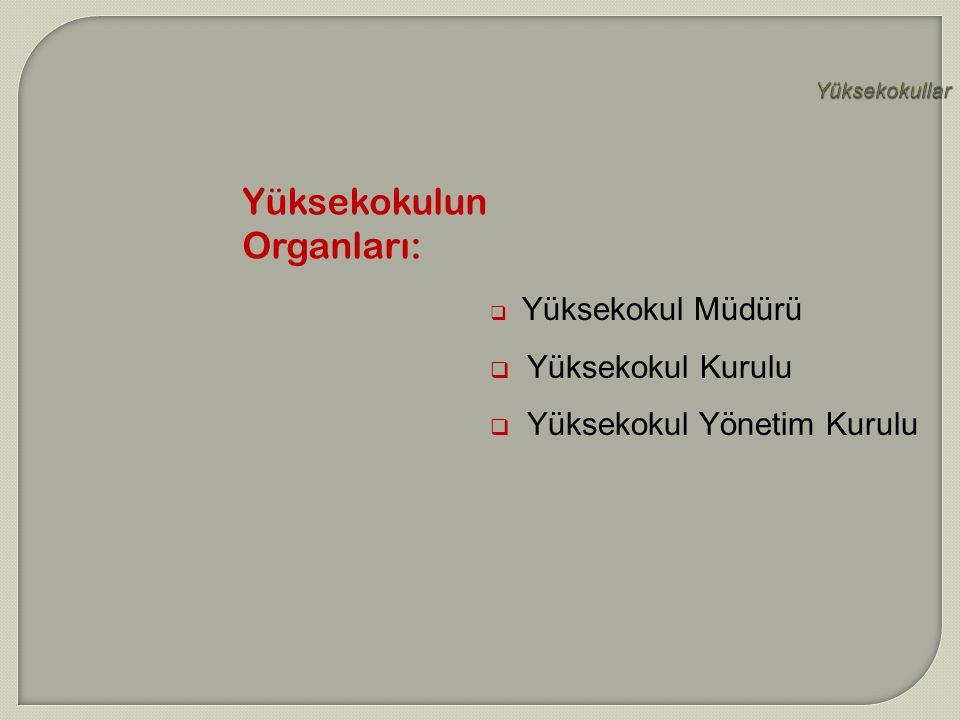 Yüksekokullar  Yüksekokul Müdürü  Yüksekokul Kurulu  Yüksekokul Yönetim Kurulu Yüksekokulun Organları: