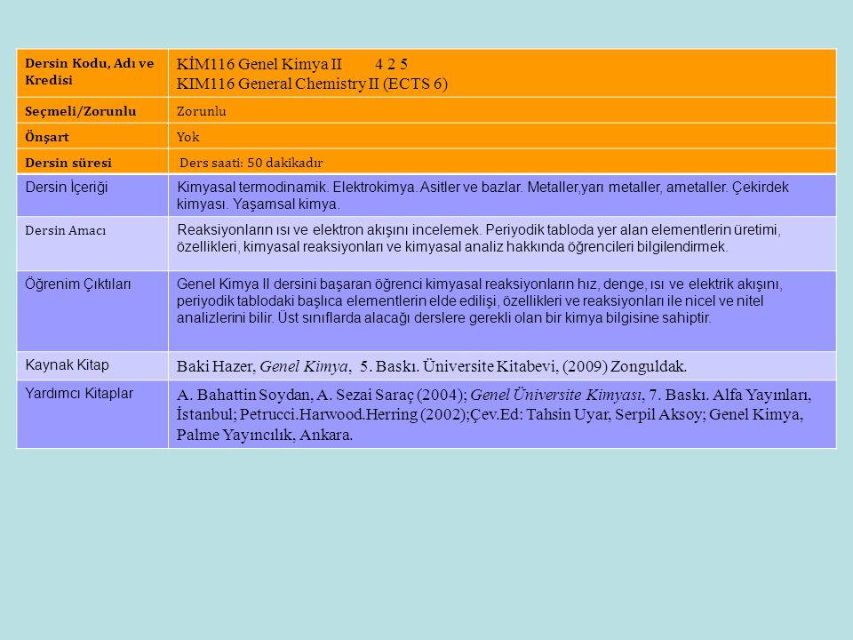 Dersin Künyesi Dersin Kodu, Adı ve Kredisi KİM116 Genel Kimya II 4 2 5 KIM116 General Chemistry II (ECTS 6) Seçmeli/ZorunluZorunlu ÖnşartYok Dersin sü