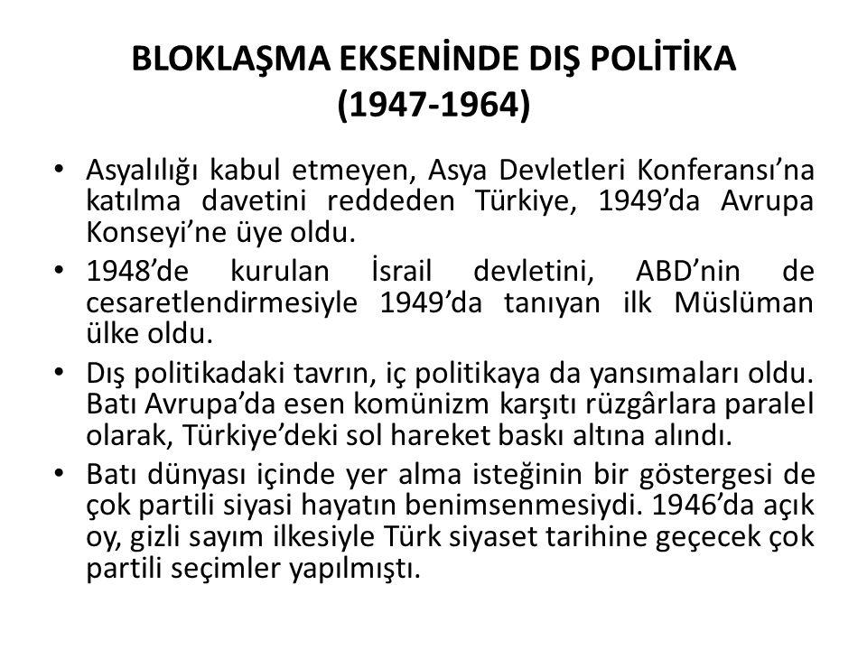 BLOKLAŞMA EKSENİNDE DIŞ POLİTİKA (1947-1964) Asyalılığı kabul etmeyen, Asya Devletleri Konferansı'na katılma davetini reddeden Türkiye, 1949'da Avrupa