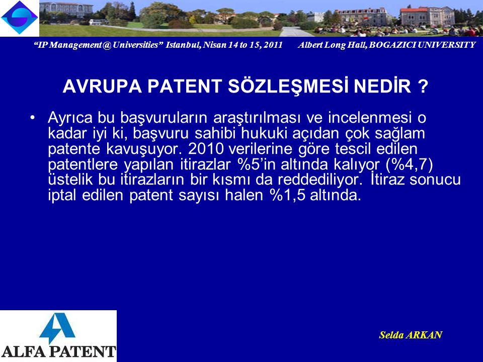 IP Management @ Universities Istanbul, Nisan 14 to 15, 2011 Albert Long Hall, BOGAZICI UNIVERSITY Selda ARKAN NASIL AVRUPA PATENT VEKİLİ OLUNUR ?