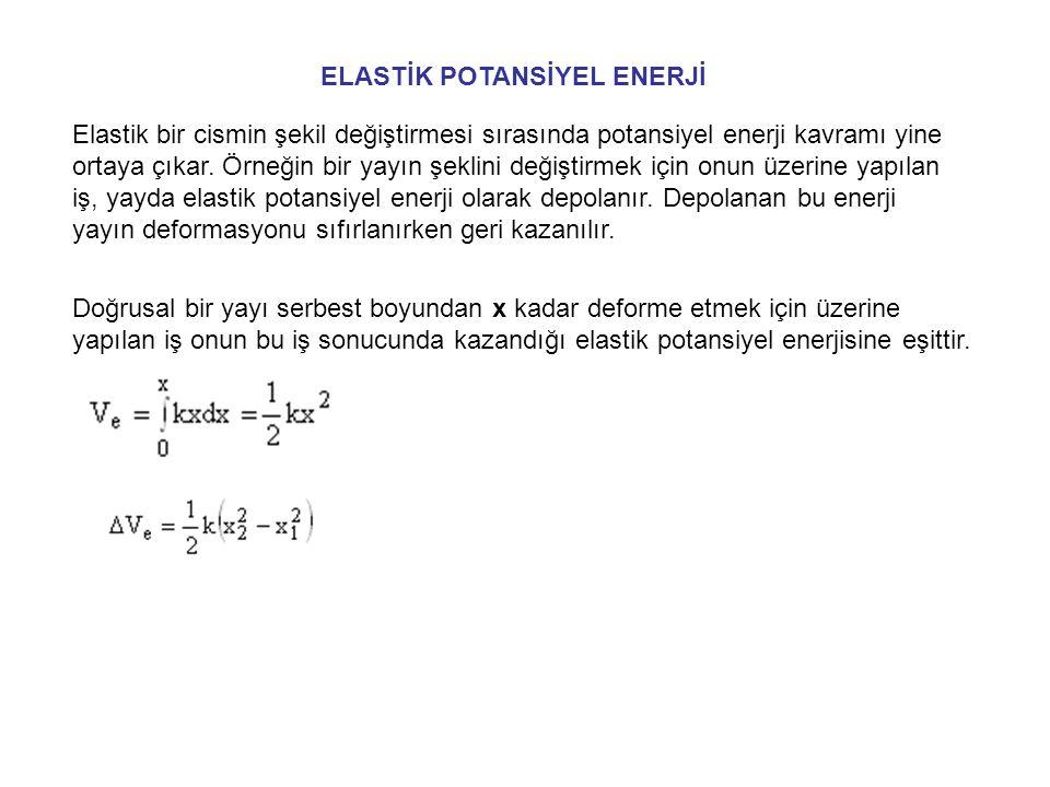 İŞ-ENERJİ DENKLEMİ T 1 +V g1 +V e1 + U 1-2 = T 2 +V g2 +V e2 Bir sistem üzerine yay ve gravitasyon kuvvetleri dışındaki tüm kuvvetlerin yaptığı iş, sistemin toplam mekanik enerjisindeki değişime eşittir.