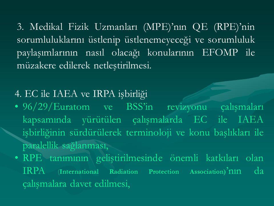 3. Medikal Fizik Uzmanları (MPE)'nın QE (RPE)'nin sorumluluklarını üstlenip üstlenemeyeceği ve sorumluluk paylaşımlarının nasıl olacağı konularının EF