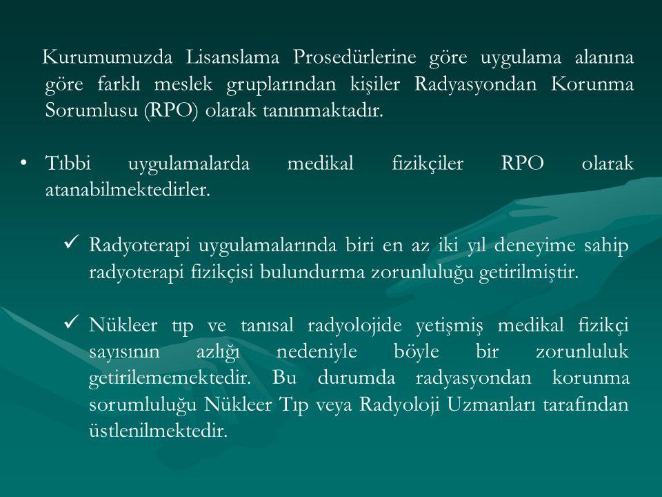 Kurumumuzda Lisanslama Prosedürlerine göre uygulama alanına göre farklı meslek gruplarından kişiler Radyasyondan Korunma Sorumlusu (RPO) olarak tanınm