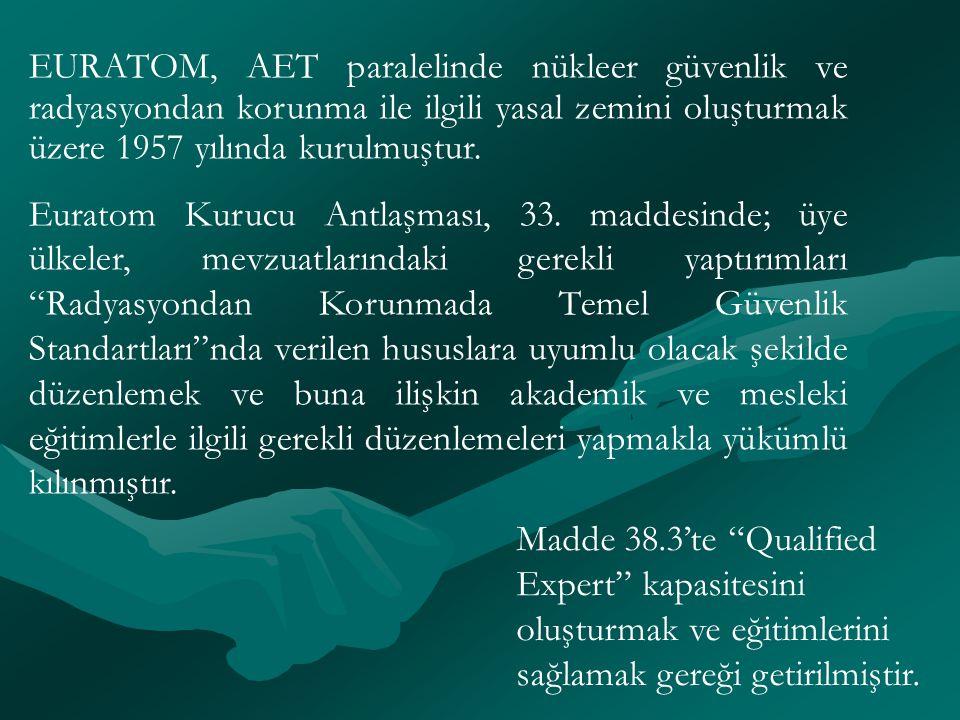 EURATOM, AET paralelinde nükleer güvenlik ve radyasyondan korunma ile ilgili yasal zemini oluşturmak üzere 1957 yılında kurulmuştur. Euratom Kurucu An
