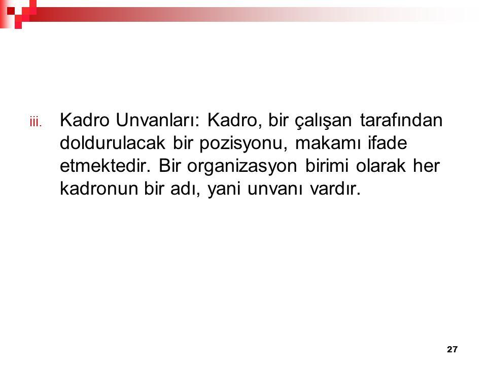 iii. Kadro Unvanları: Kadro, bir çalışan tarafından doldurulacak bir pozisyonu, makamı ifade etmektedir. Bir organizasyon birimi olarak her kadronun b