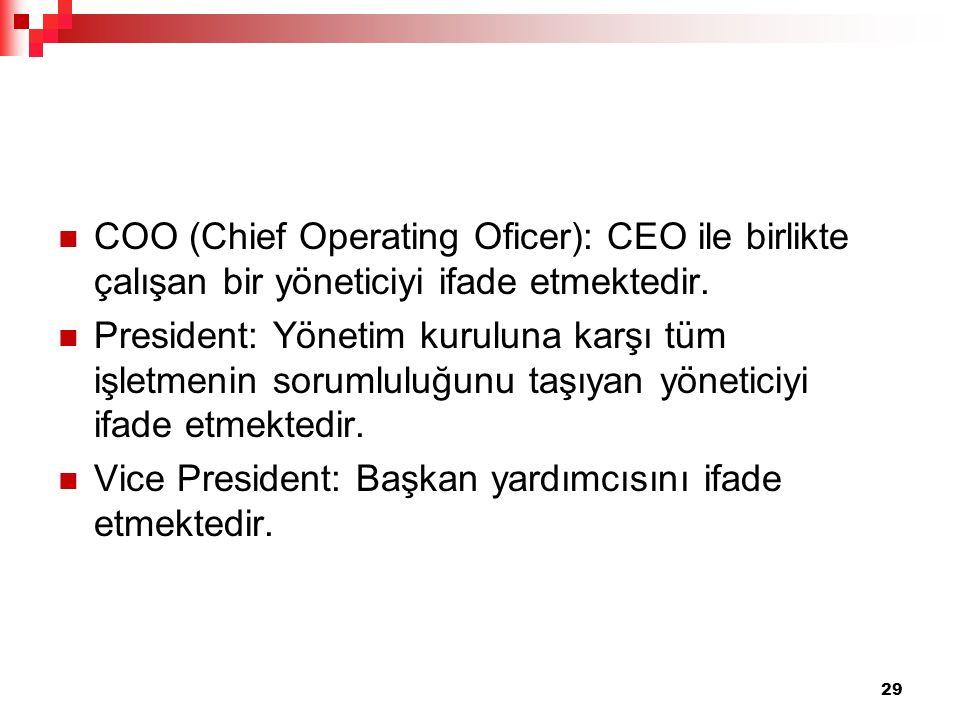 COO (Chief Operating Oficer): CEO ile birlikte çalışan bir yöneticiyi ifade etmektedir. President: Yönetim kuruluna karşı tüm işletmenin sorumluluğunu