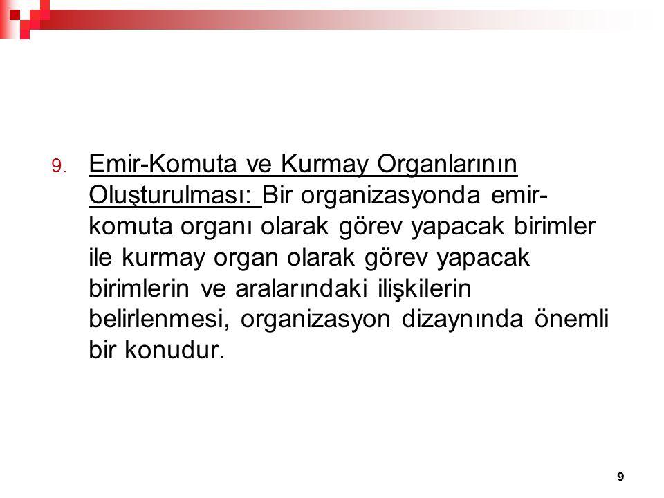 9. Emir-Komuta ve Kurmay Organlarının Oluşturulması: Bir organizasyonda emir- komuta organı olarak görev yapacak birimler ile kurmay organ olarak göre