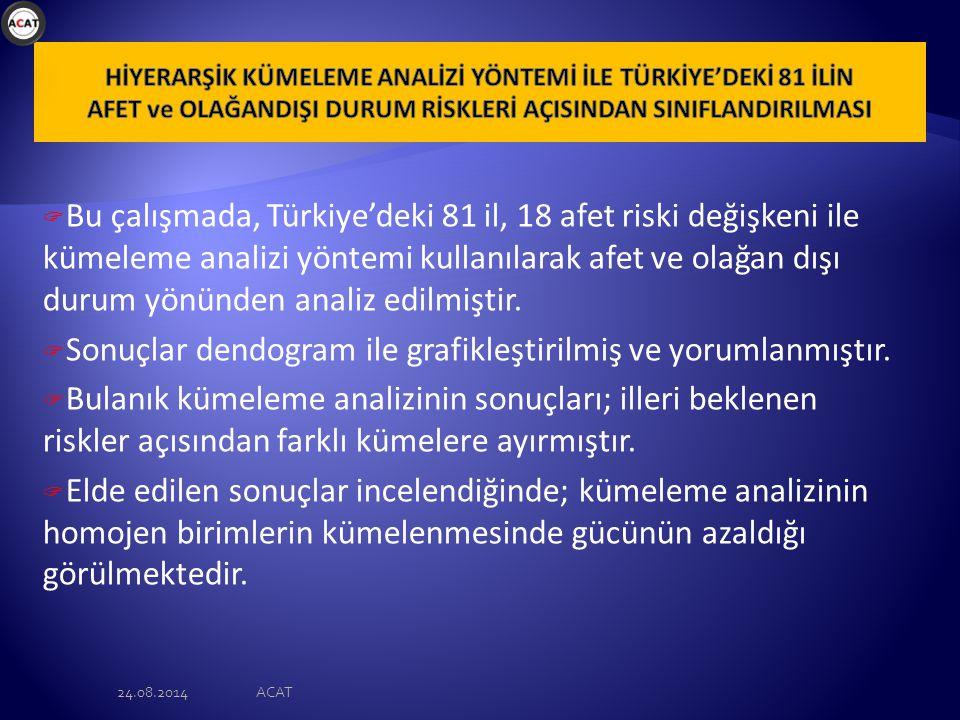  Bu çalışmada, Türkiye'deki 81 il, 18 afet riski değişkeni ile kümeleme analizi yöntemi kullanılarak afet ve olağan dışı durum yönünden analiz edilmiştir.