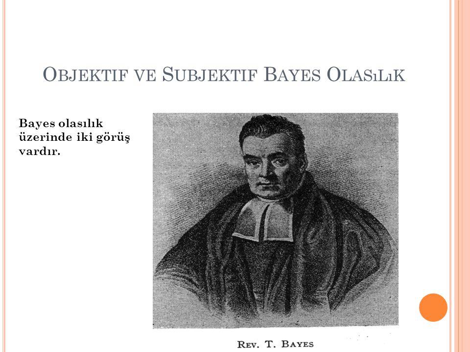 O BJEKTIF VE S UBJEKTIF B AYES O LASıLıK Bayes olasılık üzerinde iki görüş vardır.