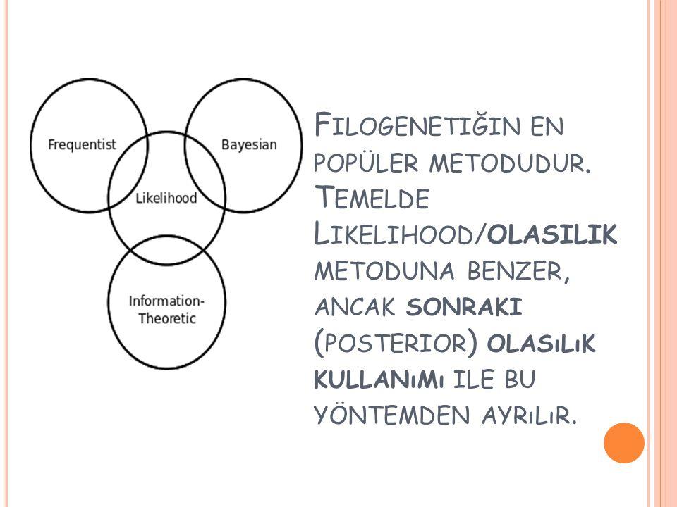 F ILOGENETIĞIN EN POPÜLER METODUDUR. T EMELDE L IKELIHOOD /OLASILIK METODUNA BENZER, ANCAK SONRAKI ( POSTERIOR ) OLASıLıK KULLANıMı ILE BU YÖNTEMDEN A