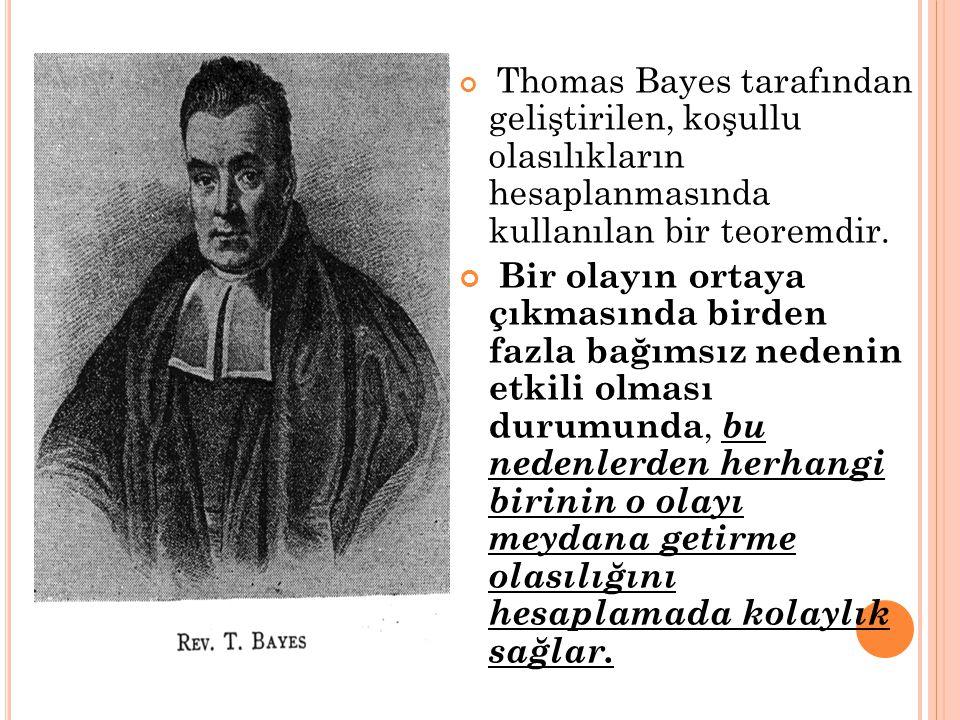 Thomas Bayes tarafından geliştirilen, koşullu olasılıkların hesaplanmasında kullanılan bir teoremdir. Bir olayın ortaya çıkmasında birden fazla bağıms
