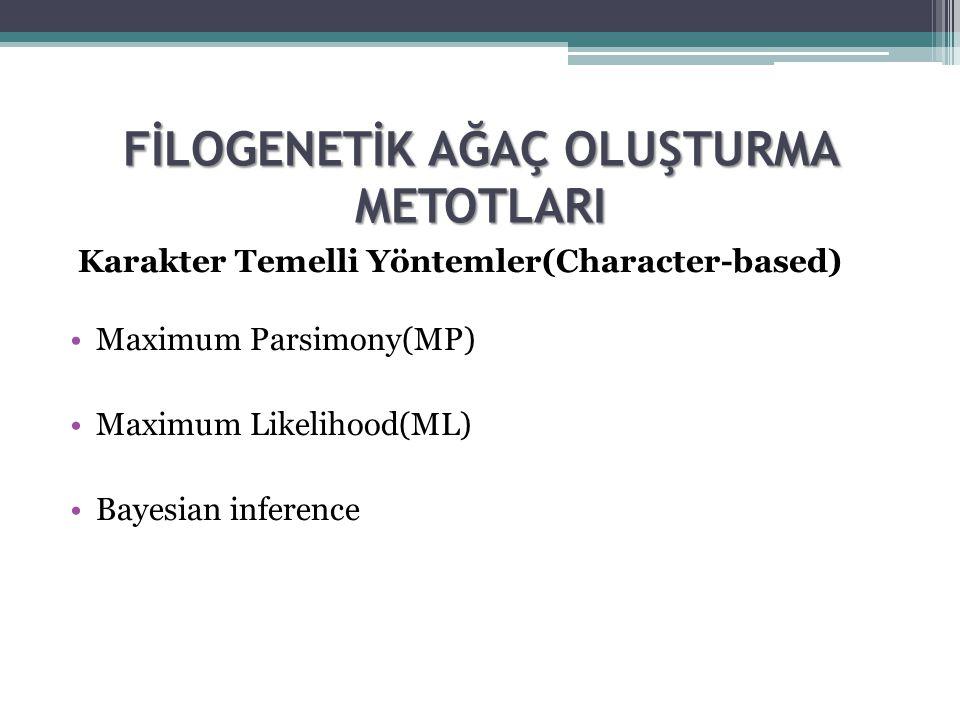 FİLOGENETİK AĞAÇ OLUŞTURMA METOTLARI Karakter Temelli Yöntemler(Character-based) Maximum Parsimony(MP) Maximum Likelihood(ML) Bayesian inference