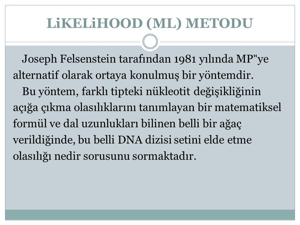 """LiKELiHOOD (ML) METODU Joseph Felsenstein tarafından 1981 yılında MP """" ye alternatif olarak ortaya konulmuş bir yöntemdir. Bu yöntem, farklı tipteki n"""