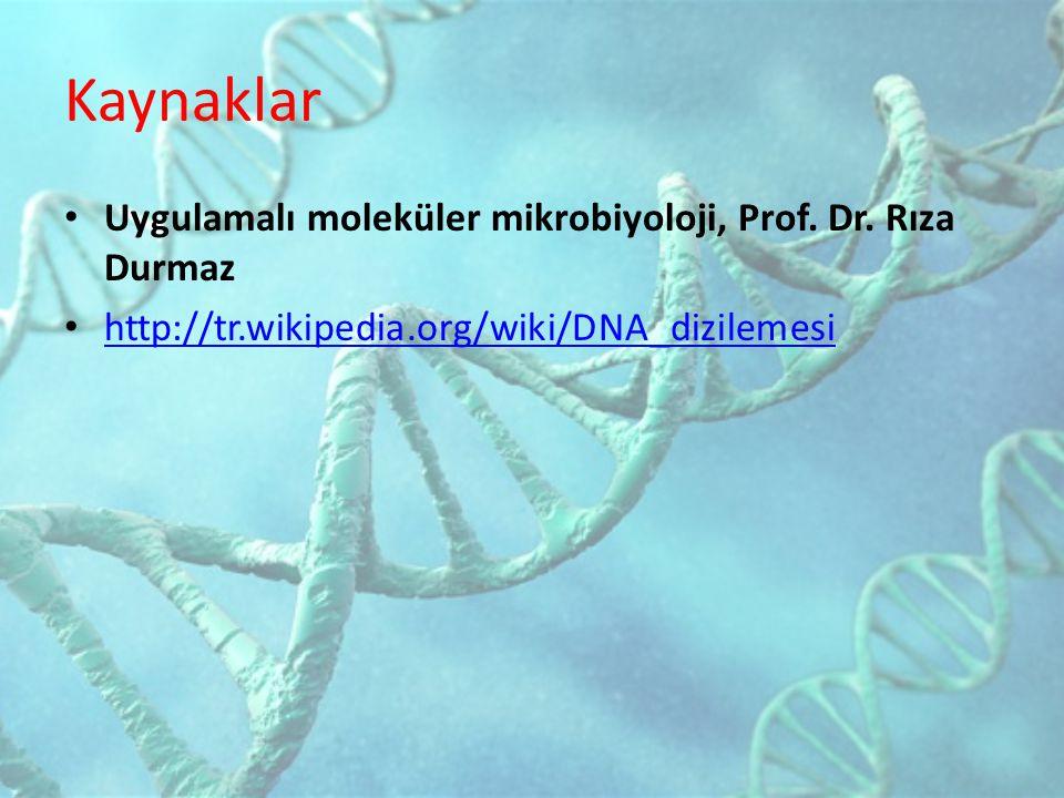 Kaynaklar Uygulamalı moleküler mikrobiyoloji, Prof. Dr. Rıza Durmaz http://tr.wikipedia.org/wiki/DNA_dizilemesi