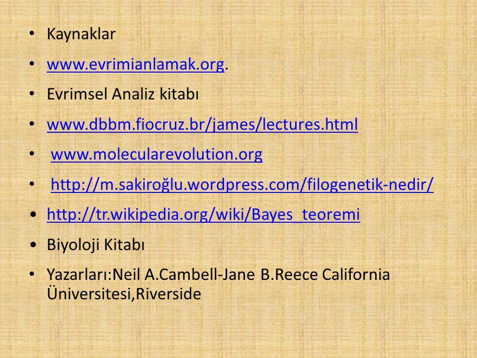 Kaynaklar www.evrimianlamak.org. www.evrimianlamak.org Evrimsel Analiz kitabı www.dbbm.fiocruz.br/james/lectures.html www.molecularevolution.org http: