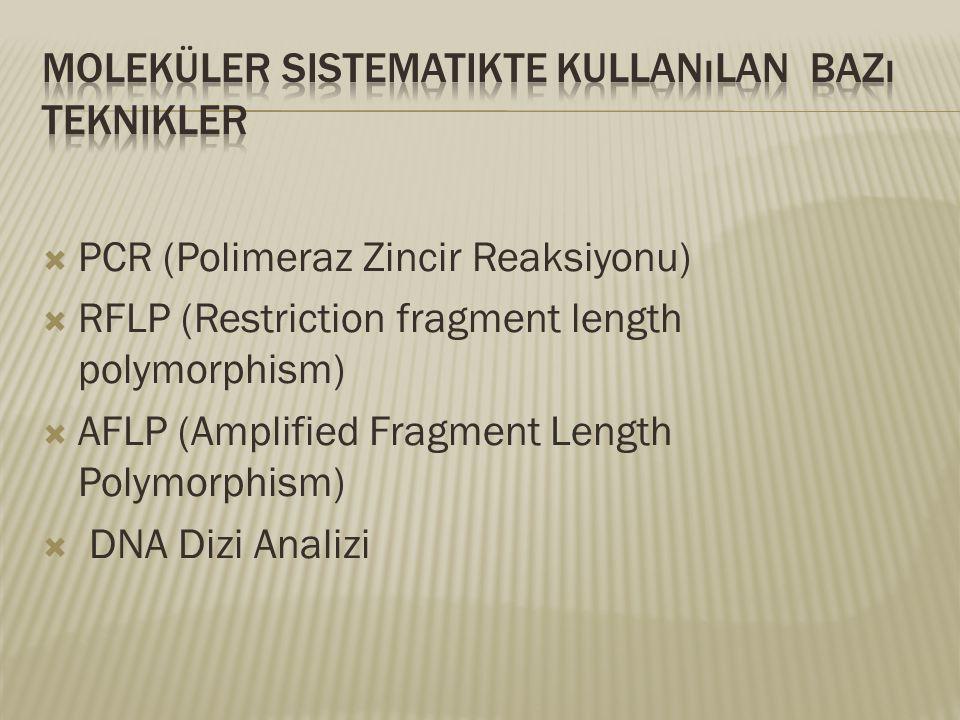  PCR (Polimeraz Zincir Reaksiyonu)  RFLP (Restriction fragment length polymorphism)  AFLP (Amplified Fragment Length Polymorphism)  DNA Dizi Anali