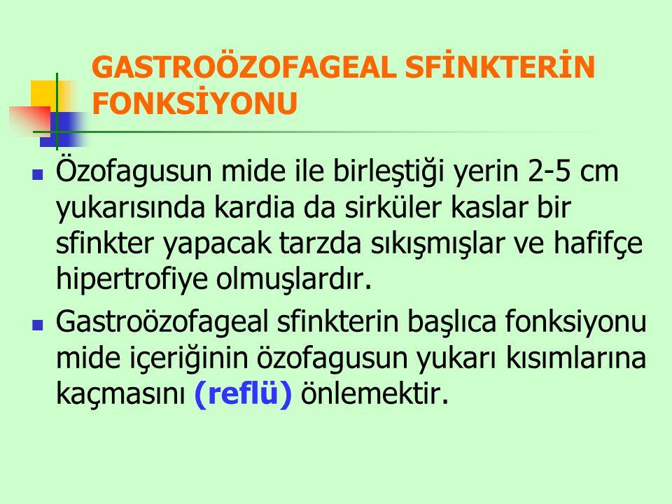 GASTROÖZOFAGEAL SFİNKTERİN FONKSİYONU Özofagusun mide ile birleştiği yerin 2-5 cm yukarısında kardia da sirküler kaslar bir sfinkter yapacak tarzda sı