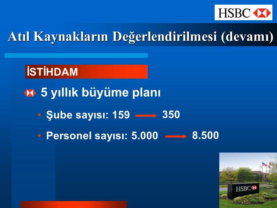 Atıl Kaynakların Değerlendirilmesi (devamı) 5 yıllık büyüme planı Şube sayısı: 159 Personel sayısı: 5.000 İSTİHDAM 350 8.500
