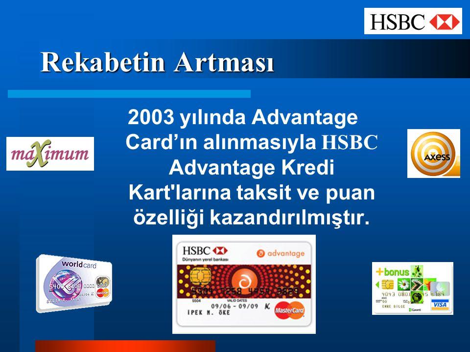 Rekabetin Artması 2003 yılında Advantage Card'ın alınmasıyla HSBC Advantage Kredi Kart'larına taksit ve puan özelliği kazandırılmıştır.