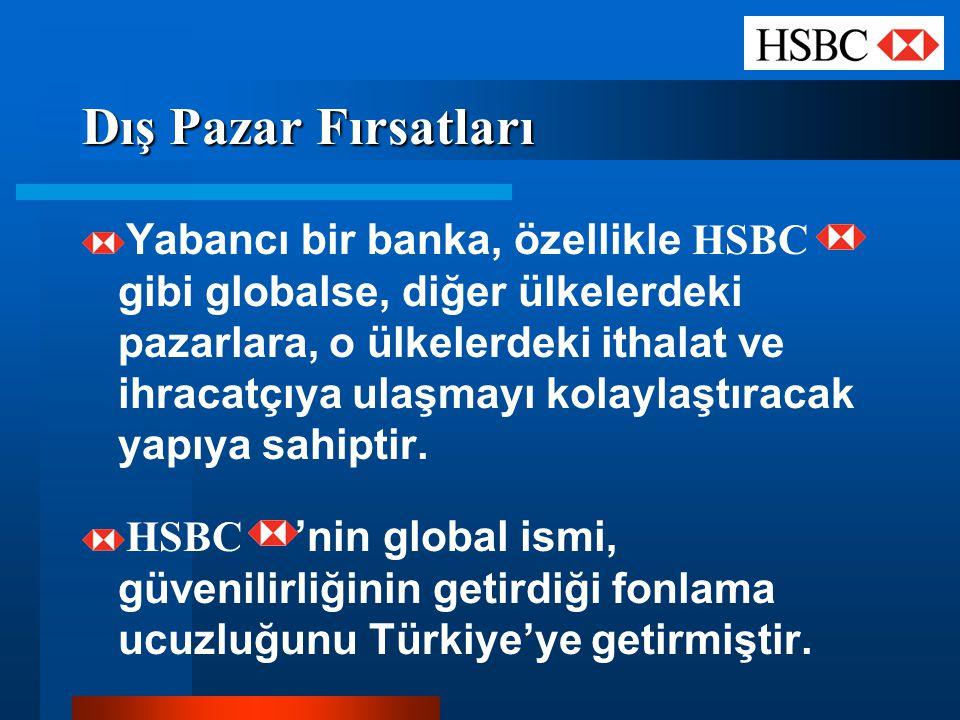 Dış Pazar Fırsatları Yabancı bir banka, özellikle HSBC gibi globalse, diğer ülkelerdeki pazarlara, o ülkelerdeki ithalat ve ihracatçıya ulaşmayı kolay