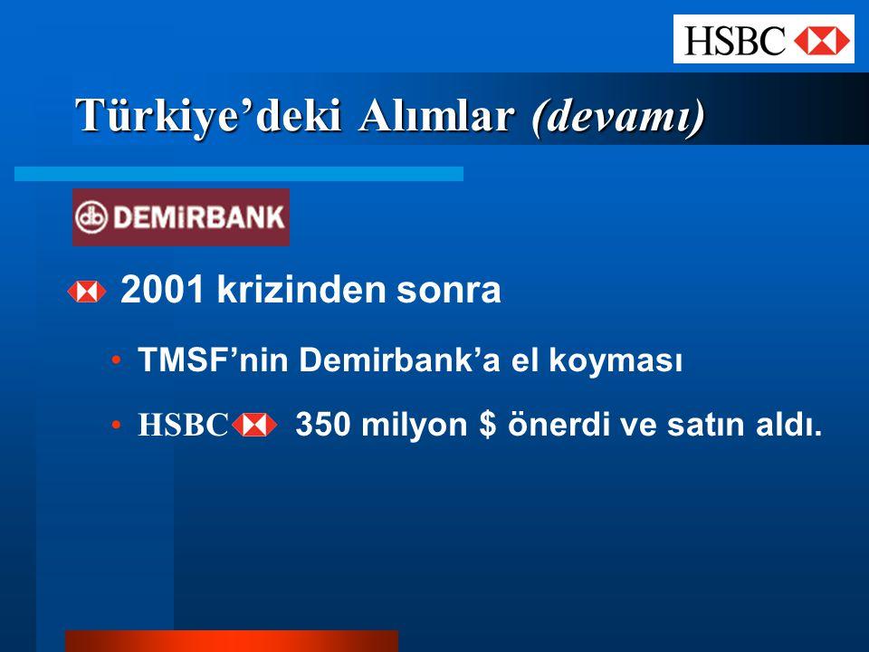 Türkiye'deki Alımlar (devamı) 2001 krizinden sonra TMSF'nin Demirbank'a el koyması HSBC 350 milyon $ önerdi ve satın aldı.