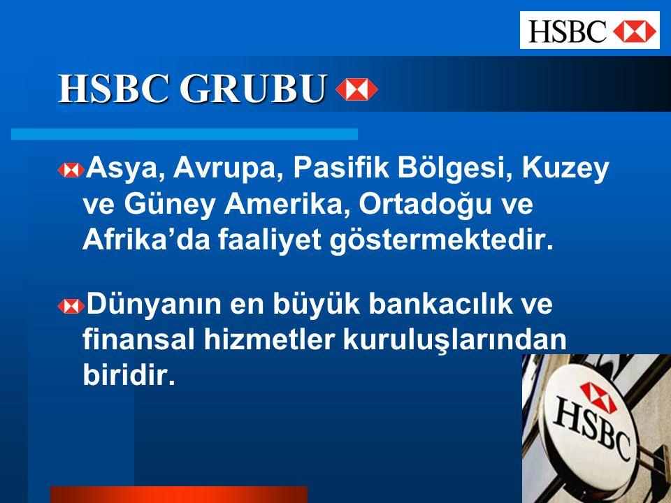 HSBC GRUBU Asya, Avrupa, Pasifik Bölgesi, Kuzey ve Güney Amerika, Ortadoğu ve Afrika'da faaliyet göstermektedir. Dünyanın en büyük bankacılık ve finan
