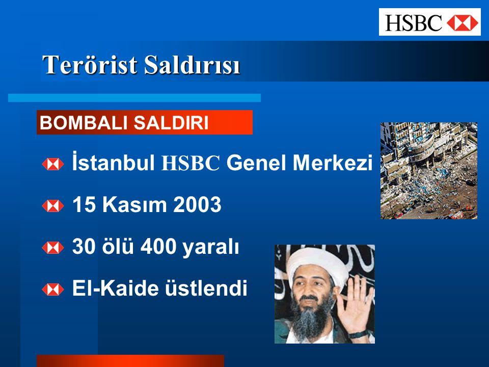 Terörist Saldırısı İstanbul HSBC Genel Merkezi 15 Kasım 2003 30 ölü 400 yaralı El-Kaide üstlendi BOMBALI SALDIRI