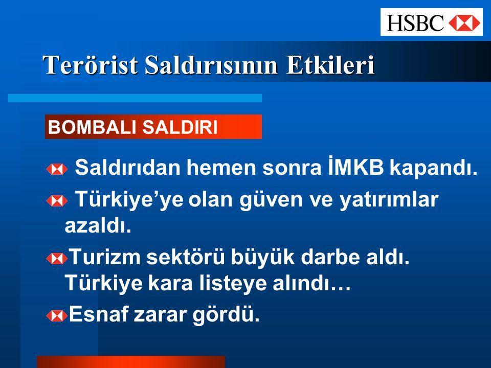 Terörist Saldırısının Etkileri BOMBALI SALDIRI Saldırıdan hemen sonra İMKB kapandı. Türkiye'ye olan güven ve yatırımlar azaldı. Turizm sektörü büyük d