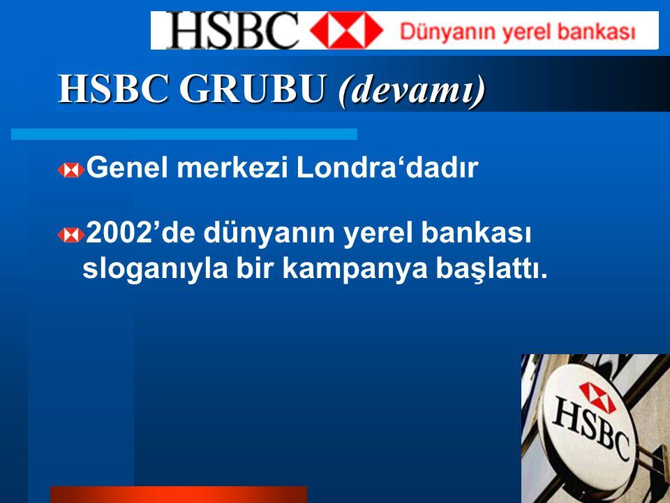 HSBC GRUBU (devamı) Genel merkezi Londra'dadır 2002'de dünyanın yerel bankası sloganıyla bir kampanya başlattı.