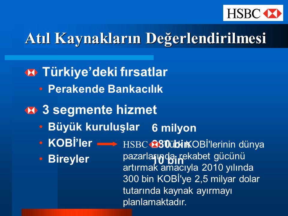 Atıl Kaynakların Değerlendirilmesi Türkiye'deki fırsatlar Perakende Bankacılık 3 segmente hizmet Büyük kuruluşlar KOBİ'ler Bireyler 6 milyon 280 bin 1