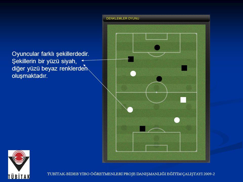 Oyuncular farklı şekillerdedir. Şekillerin bir yüzü siyah, diğer yüzü beyaz renklerden oluşmaktadır.