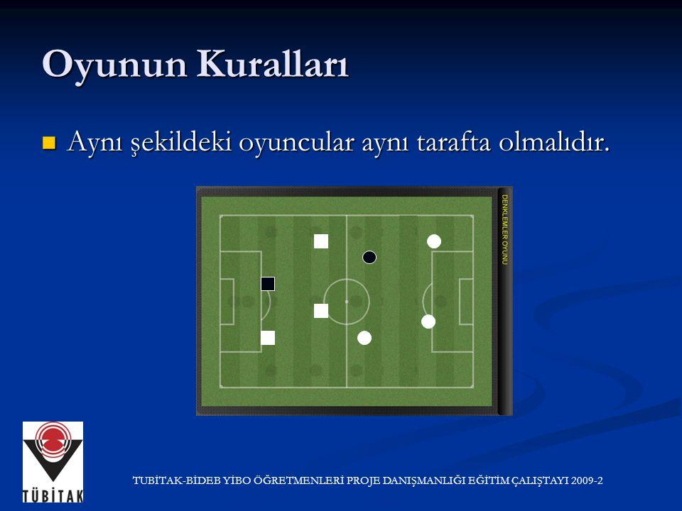 Oyunun Kuralları Aynı şekildeki oyuncular aynı tarafta olmalıdır. Aynı şekildeki oyuncular aynı tarafta olmalıdır. TUBİTAK-BİDEB YİBO ÖĞRETMENLERİ PRO